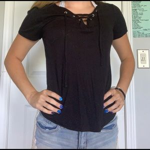Black criss cross top!